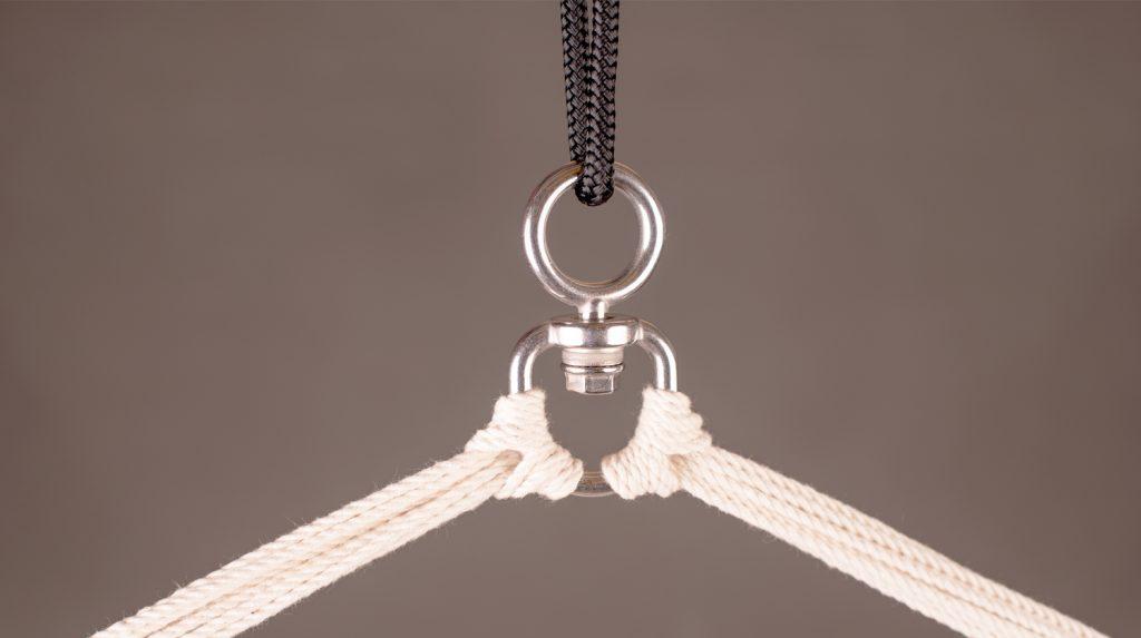 Auf dem Bild sieht man einen typischen Knoten für Hängesessel.