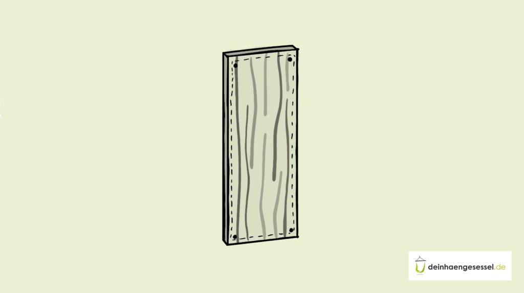 Zu sehen ist ein Holzbrett an einer Wand mit vier Bohrlöchern