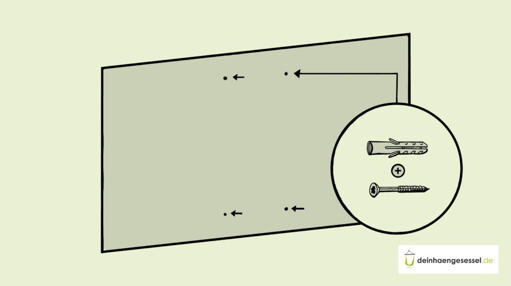 Zu sehen ist eine Wand, in der Bohrlöcher eingezeichnet werden