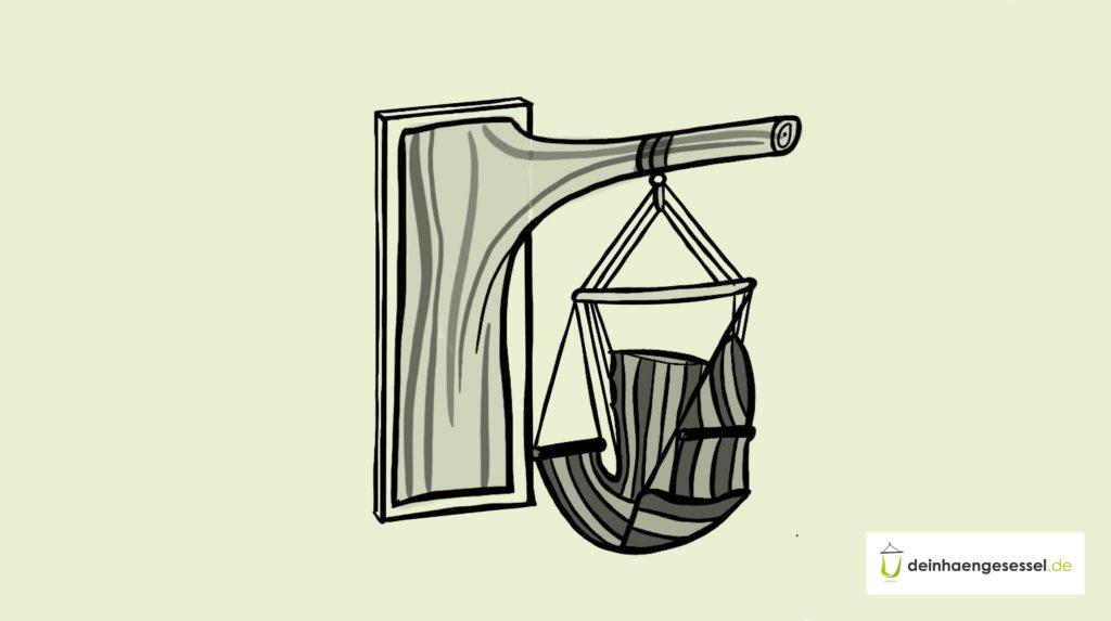 Zu sehen ist ein selbst gebautes Hängesesselgestell für dein Wohnzimmer