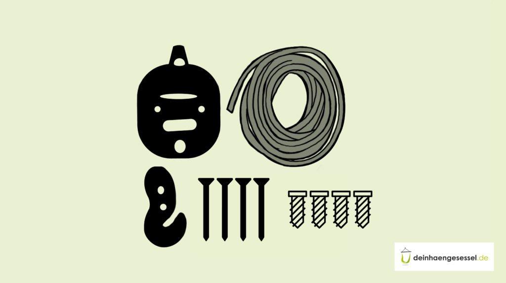 Zu sehen ist ein Befestigungs-Kit zum Anbringen von Hängesesseln