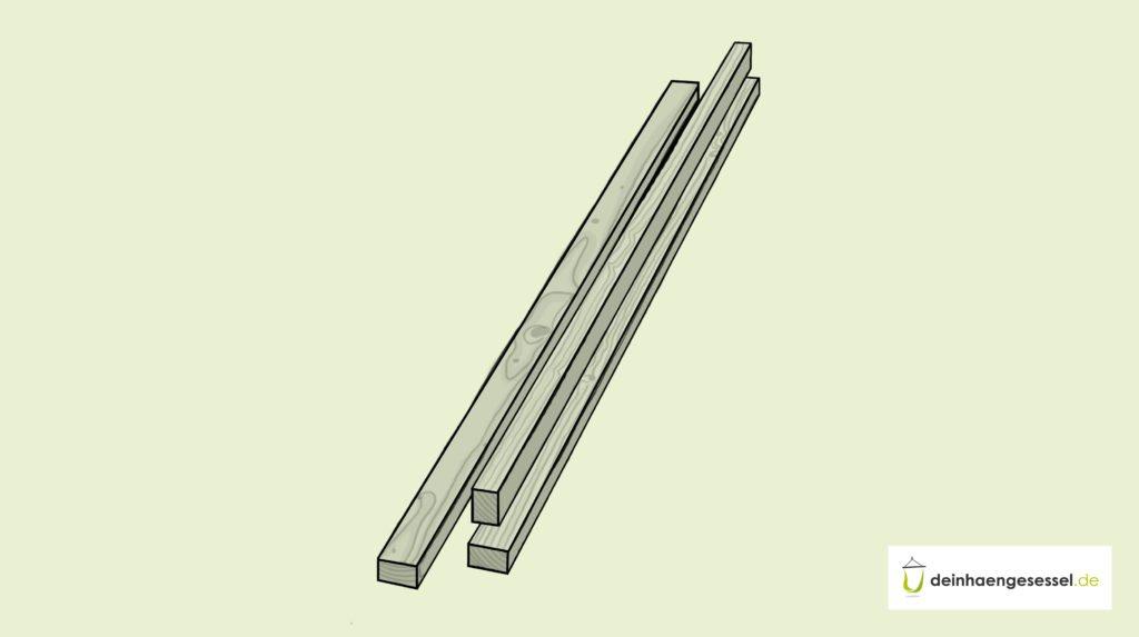 Zu sehen sind 3 Kanthölzer, die sich zu Bau des Hängesessel-Gestells eignen