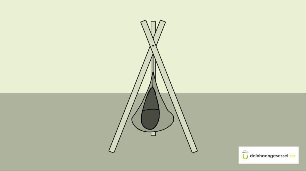 Zu sehen ist ein Hängesessel in einem selbst gebauten Gestell