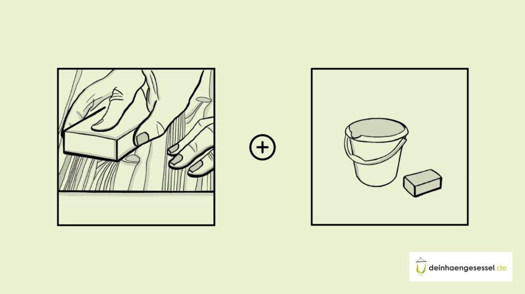 Schleife die Kanthölzer zuerst ab und behandle sie dann mit Wasser und Seife
