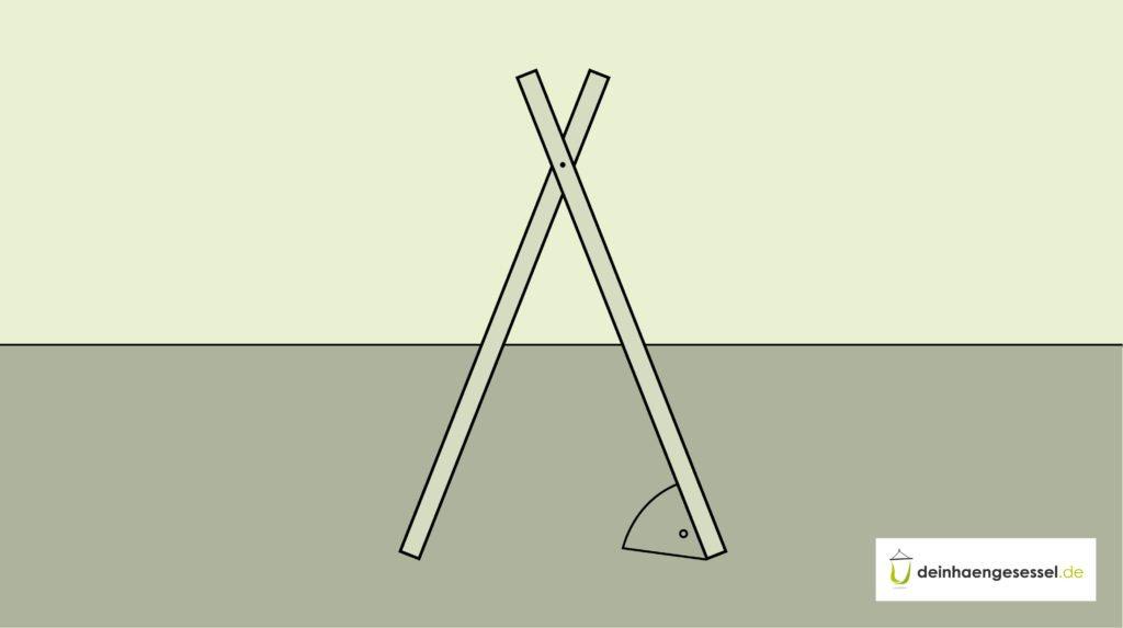 Platziere nun den bisherigen Teil des Hängesessel Gestells im richtigen Winkel