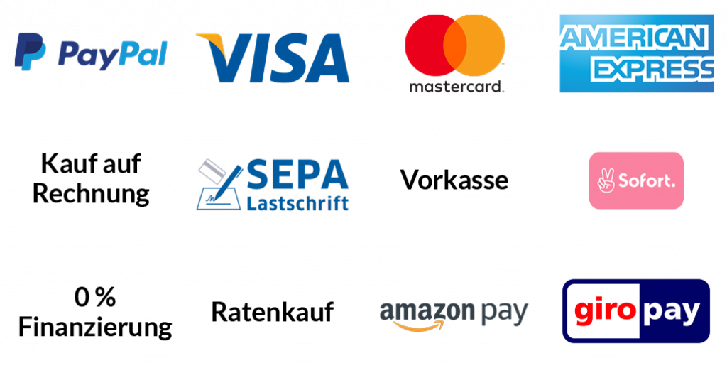 Auf der Grafik sind alle Zahlungsmethoden aufgeführt, mithilfe derer du Hängesessel kaufen kannst